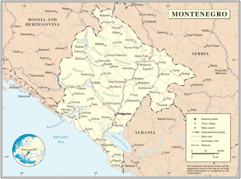 Karta Balkana 1878.Montenegro